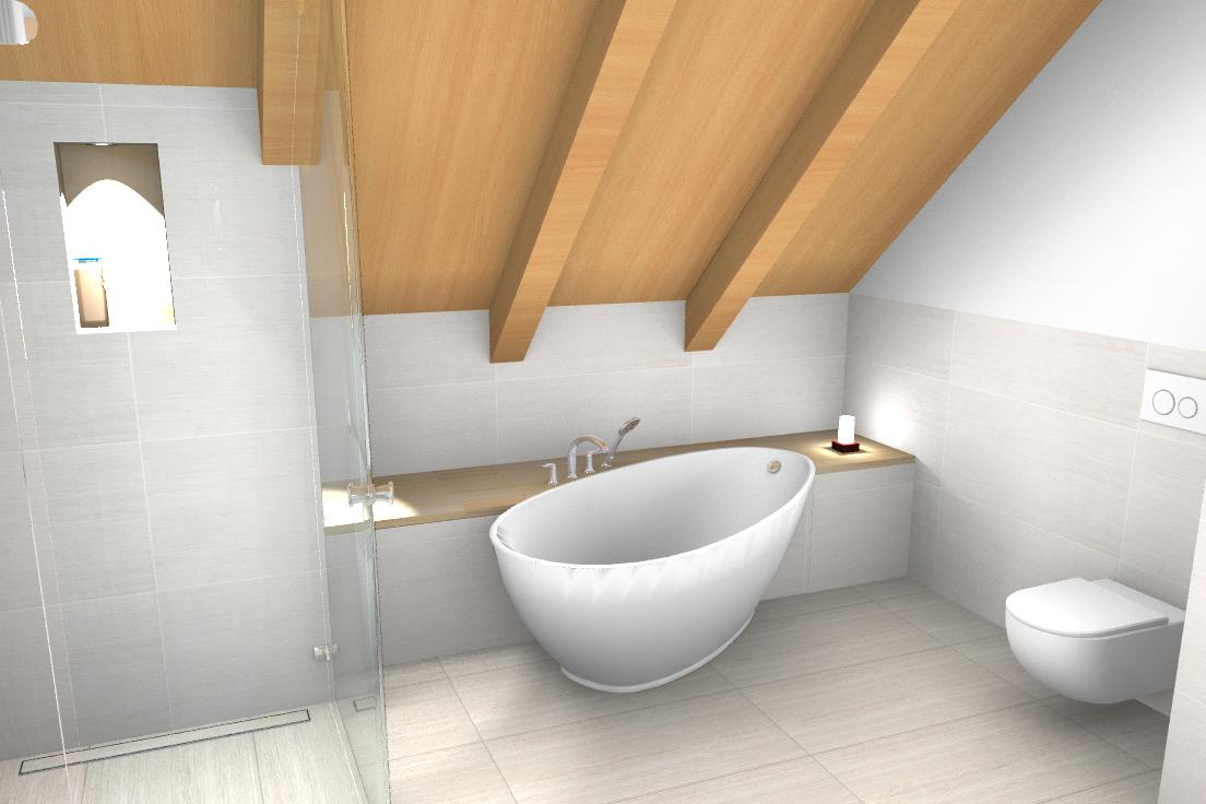 Angefangen Bei Einer Freistehenden Wanne Mit Ablagefläche Und  Einbauschrank. Ihr Gegenüber Eine Echtglas Dusche. Auch Wenn Sich Diese  Unter Der Dachschräge ...